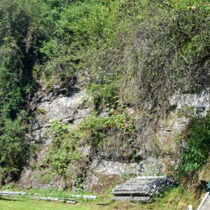 Die Felswand zum Wald hin